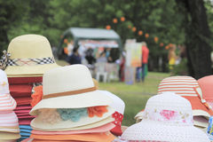 Colorful hats at the fair Stock Photos