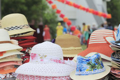 Colorful hats at the fair Royalty Free Stock Image