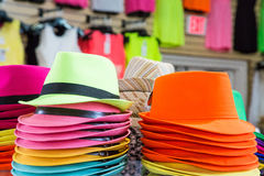 Colorful Hats in a Store Stock Photos