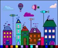 Colorful houses. Doodle design. Vector illustration royalty free illustration