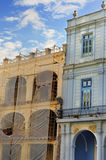 Colorful havana buildings detail. Detail of two colorful buildings in Old Havana under blue sky Royalty Free Stock Photo