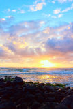 Colorful Hawaiian Sunrise. A colorful sunrise over the Pacific Ocean in Kauai, Hawaii Royalty Free Stock Photography