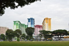 Colorful HDB flats at Rochor Centre. Singapore city, Singapore - September 22, 2016: Colorful HDB flats at Rochor Centre royalty free stock image