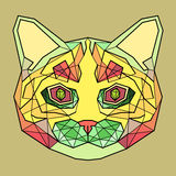 Colorful Head of Abstract Cat in linear graphic design Royalty Free Stock Photography