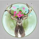 Colorful head of deer with flowers Royalty Free Stock Photo