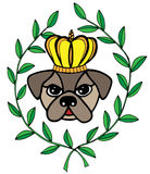 Colorful head dog with crone and leaves Royalty Free Stock Images