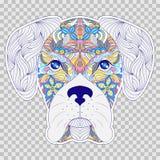 Colorful head of dog. Head of dog on transparent background.Sticker for laptop sleeves,skins,cases,wallets etc. Vector illustration stock illustration
