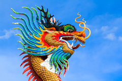Colorful head dragon statue Stock Images