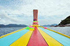 Colorful head of traditional longtail boat tour around Thailand Islands Royalty Free Stock Image