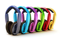 Colorful headphones. Headphones on a white background Royalty Free Stock Photo