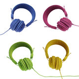 Colorful headphones collection Royalty Free Stock Images