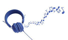 Colorful headphones and notes Stock Images