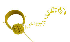 Colorful headphones and notes Royalty Free Stock Photos