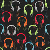 Colorful headphones seamless pattern. Stock Images