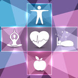Colorful health care icons. Healthy food, fitness, no stress and healthy weight leads to healthy heart and life Royalty Free Stock Photography