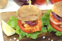 Colorful healthy delicious prawn burgers Stock Photo