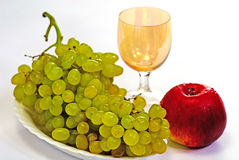 Colorful healthy fresh fruit grape and apple Royalty Free Stock Photo