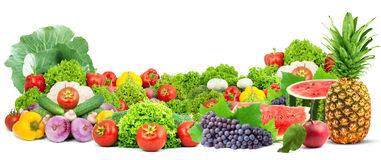 Colorful healthy fresh fruits and vegetables Stock Photography