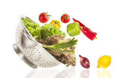 Colorful healthy fresh vegetables in strainer Stock Image
