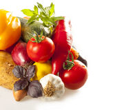 Colorful healthy fresh vegetables on white Royalty Free Stock Photos