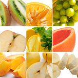 Colorful healthy fruit collage. Made from nine photographs Stock Image