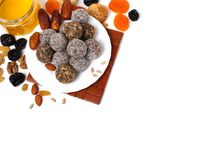 Colorful healthy homemade candies with nuts, dry fruits. And spices royalty free stock images