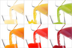 Colorful healthy juices. Pouring colorful healthy juices into glasses photo collection: apple, pineapple, kiwi, orange, strawberries and pomegranate Stock Photo