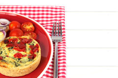 Colorful Healthy lunch. Quiche with copy space Royalty Free Stock Photography
