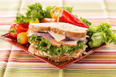 Colorful Healthy Lunch Sandwich With Sweet Peppers On Plate Stock Photo