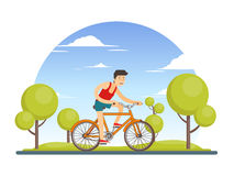 Colorful Healthy Sport Lifestyle Concept. With man riding bicycle in city park vector illustration Royalty Free Stock Photos