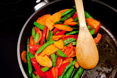 Colorful Healthy Vegan Food in the Pan. Closeup Stock Photography
