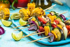 Colorful and healthy vegetable grilled skewers Royalty Free Stock Image