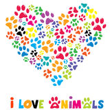 Colorful heart with animals footprints stock illustration