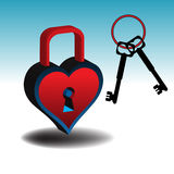 Colorful heart as padlock Stock Images