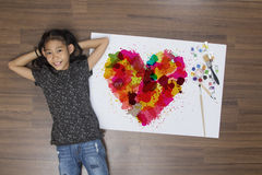 Colorful heart with asian girl painting brush watercolor Stock Photos
