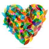 Colorful heart from autumn leaves illustration Royalty Free Stock Images
