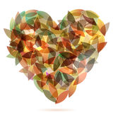 Colorful heart from autumn leaves illustration Stock Photo