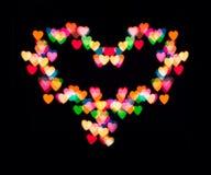 Colorful heart bokeh Stock Photo