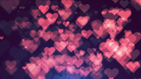 Colorful heart bokeh loop happy valentine background. Full HD stock video