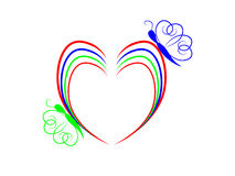 Colorful heart and butterfly. Large colorful heart and butterfly Royalty Free Stock Photos