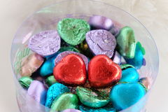 Colorful heart chocolate Stock Images