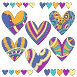 Colorful heart collection with different pattern Stock Photos