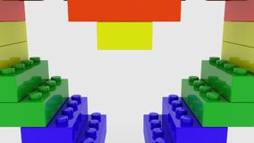 Colorful heart concept build from toy bricks. In backgrounds stock video