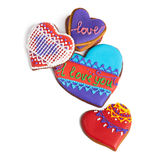Colorful heart cookies isolated on white background Royalty Free Stock Images