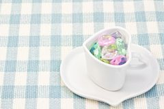 Colorful Heart in a cup Royalty Free Stock Photography