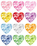 Colorful heart diamond. Set of colorful heart diamonds.  Vector illustration Stock Photo