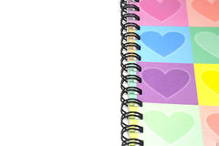 Colorful heart graphic cover notebook with blank space Stock Photos