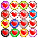 Colorful Heart Icons Royalty Free Stock Photography