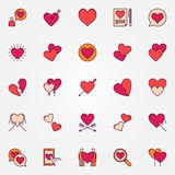 Colorful heart icons set Stock Photos
