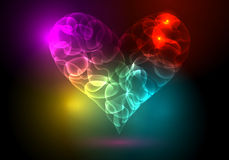 Colorful heart illustration. Vector modern abstract colorful heart illustration made of neon light Stock Photo